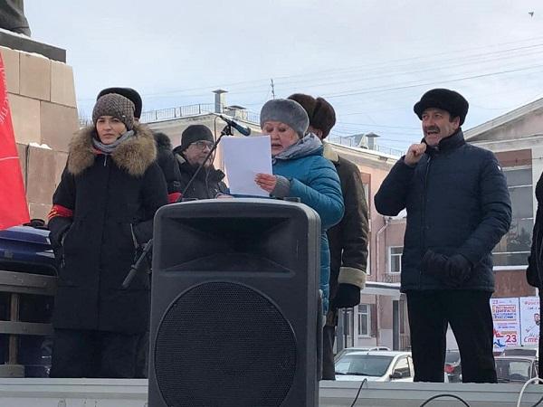 Сотни жителей Рубцовска мороз вышли митинг защиту городских предприятий