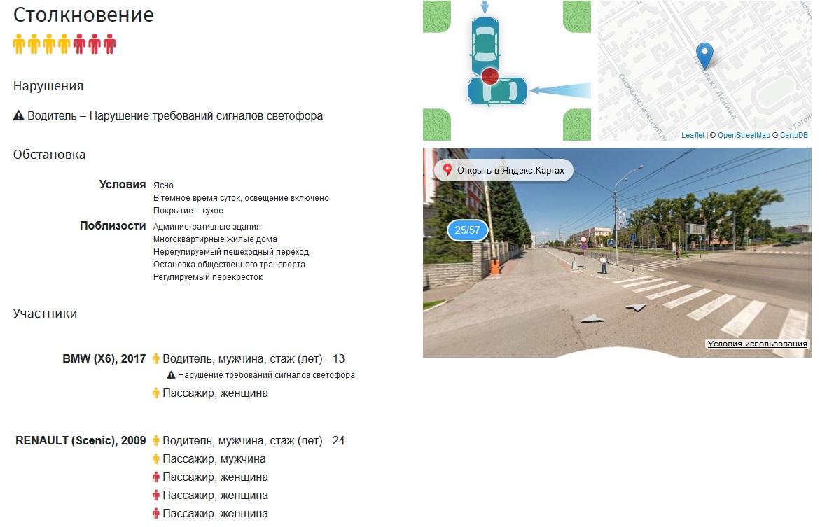 Интерактивная карта автомобильных аварий Барнауле раскрыла самые опасные перекрестки